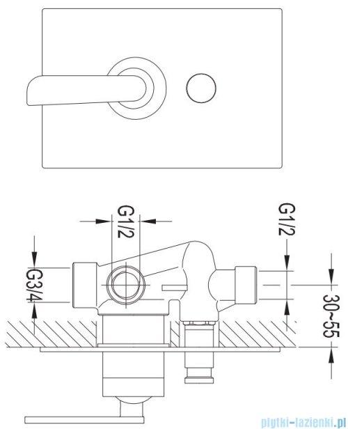Omnires Cascade system podtynkowy wannowy chrom SYSCAW01CR