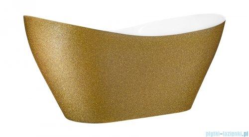 Besco Viya Glam złota 160x70cm wanna wolnostojąca + odpływ klik-klak