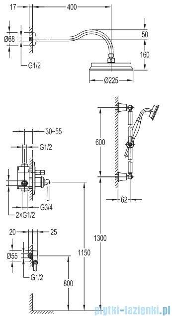 Omnires Armance kompletny łazienkowy system podtynkowy chrom SYSAM20CR
