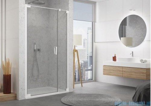 SanSwiss Cadura White Line drzwi wahadłowe 110cm jednoczęściowe lewe z polem stałym biały mat CA31CG1100907