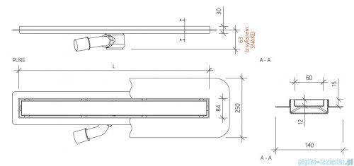 Wiper New Premium Pure Odpływ liniowy z kołnierzem 50 cm szlif 100.1973.02.050