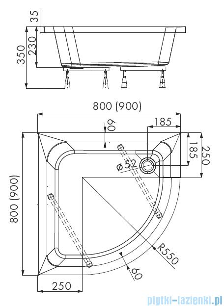 Schedpol Dafne brodzik półokrągły 80x80x35cm 3.220