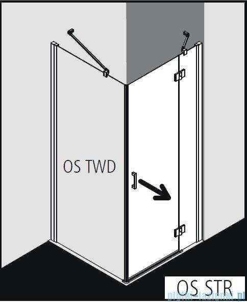 Kermi Osia Kabina prysznicowa 1 skrzydłowa prawa, szkło przezroczyste 100x100 cm OSSTR10020VPK/OSTWD10020VPK