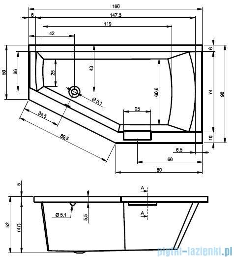 Riho Geta wanna asymetryczna 160x90cm lewa+nóżki BA87/09