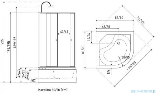 Novoterm Karolina Kabina hydromasażowa 81x81x225 cm Karolina80