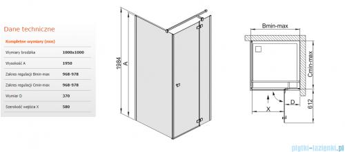 Sanplast kabina narożna kwadratowa KNDJ2/FREE-100 100x100x195 cm przejrzyste 600-260-0620-42-401