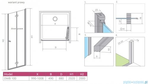 Radaway Fuenta New Dwb drzwi wnękowe 100cm prawe szkło przejrzyste 384077-01-01R
