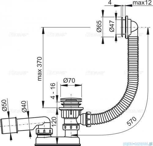 Alcaplast  syfon wannowy klik-klak, chrom A505CRM-80