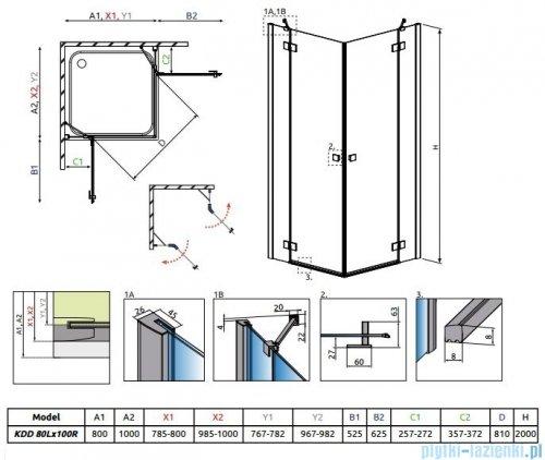 Radaway Essenza New Kdd kabina 80x100cm szkło przejrzyste 385061-01-01L/385062-01-01R