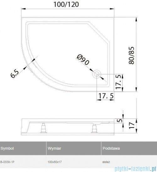 New Trendy New Maxima brodzik asymetryczny 100x80x17cm prawy B-0339/P