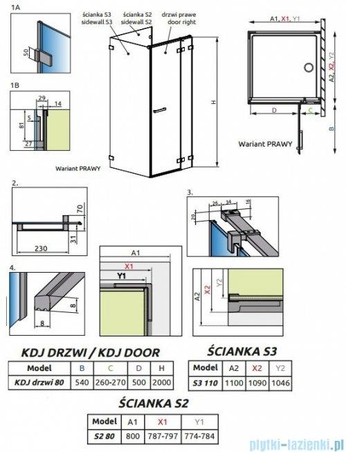 Radaway Euphoria KDJ P Kabina przyścienna 80x110x80 prawa szkło przejrzyste 383512-01R/383241-01R/383031-01/383039-01