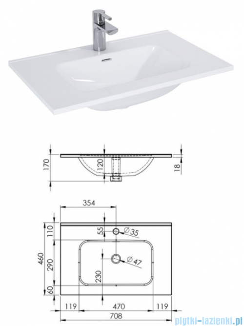 Elita Futuris szafka z umywalką 70x64x45cm biały połysk 167219/145835