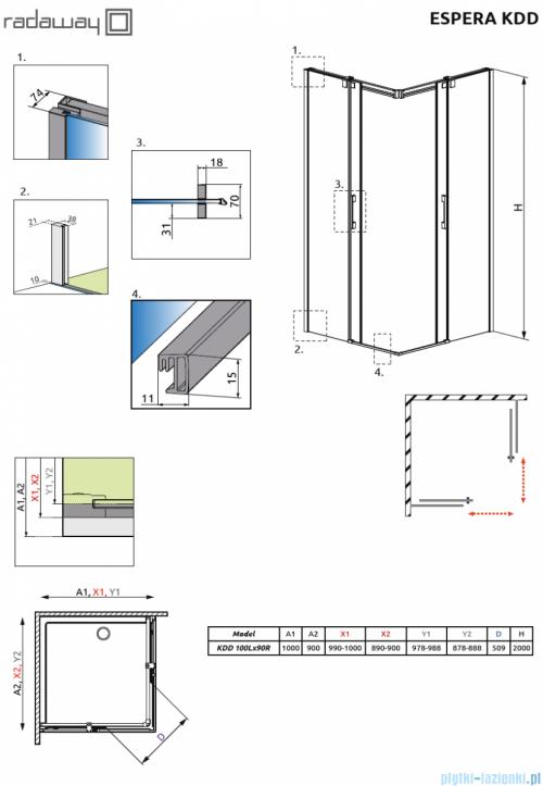 Radaway Espera KDD Kabina prysznicowa 100x90 szkło przejrzyste 380152-01L/380151-01R