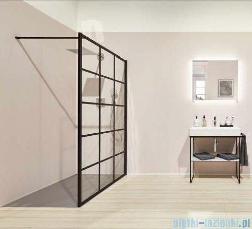 Kermi kabina Walk-in Dark Edition 100x200 cm kratka dekoracyjna profil XDWW2100203PK