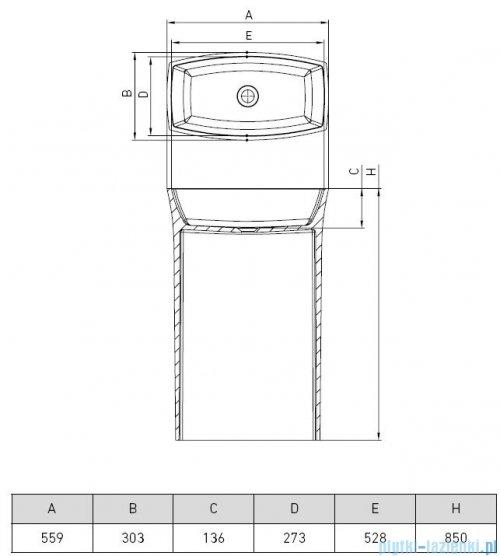 Vayer Gemini umywalka wolnostojąca 56x30x85cm biała 055.030.085.3-7.0.3.0.0