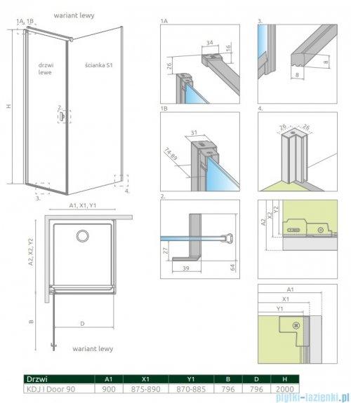 Radaway Nes Black Kdj I drzwi 90cm lewe szkło przejrzyste 10022090-54-01L