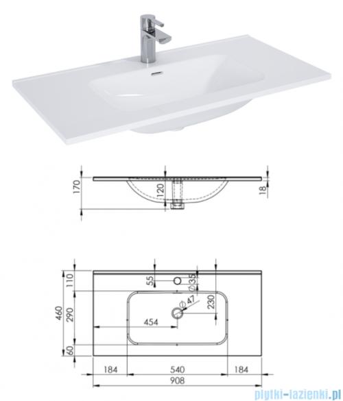 Elita Futuris szafka z umywalką 90x64x45cm biały połysk 167221/145845