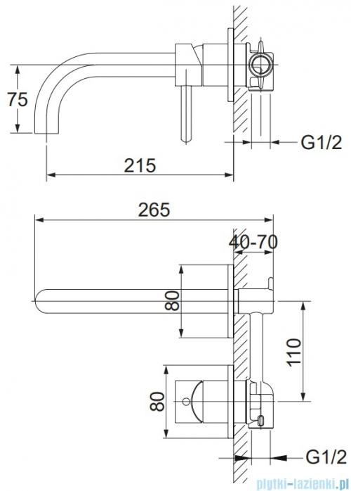 Omnires Y bateria umywalkowa podtynkowa chrom Y1215CR