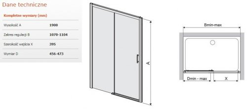 Sanplast Free Zone drzwi przesuwne D2L/FREEZONE 110x190 cm lewe przejrzyste 600-271-3130-38-401