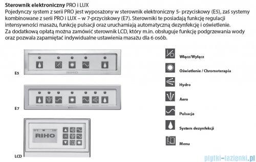 Riho Lyra wanna asymetryczna prawa 170x110 z hydromasażem LUX Hydro 4+4+2/Aero11 BA63L8