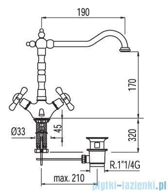 Tres Retro-Tres Bateria umywalkowa z korkiem automatycznym 1.29.104.61