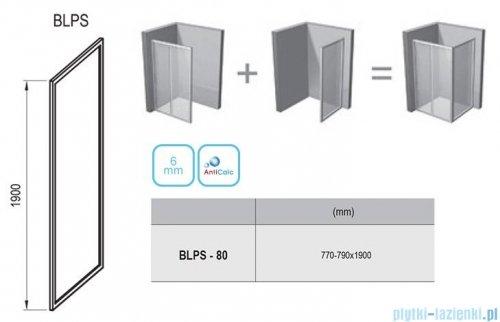 Ravak Blix BLPS ścianka boczna stała 80cm aluminium grape Anticalc 9BH40C00ZG