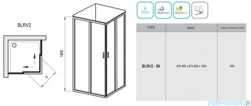 Ravak Blix BLRV2 kabina kwadratowa 90x90 aluminium grape Anticalc 1LV70C00ZG
