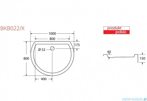 Sea Horse brodzik prysznicowy 100x80cm półokrągły BKB022/X