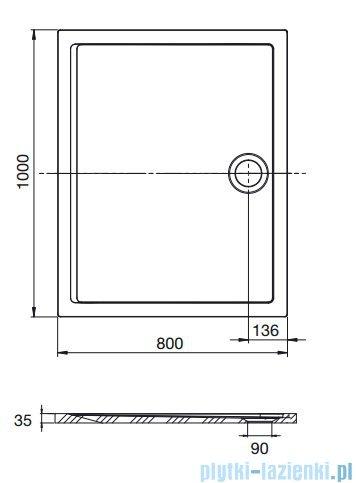Roca Aeron brodzik prostokątny 100x80x3,5cm szary cement A276285300