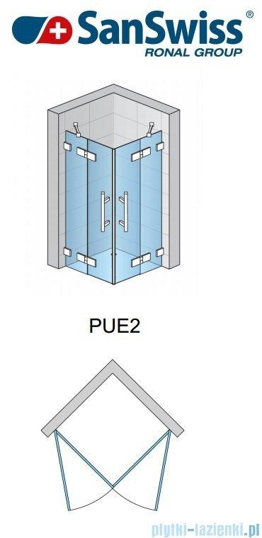 SanSwiss Pur PUE2 Wejście narożne 2-częściowe 75-120cm profil chrom szkło Krople Lewe PUE2GSM11044