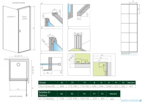 Radaway Nes Black Kdj I Factory kabina 80x75cm prawa rysunek techniczny