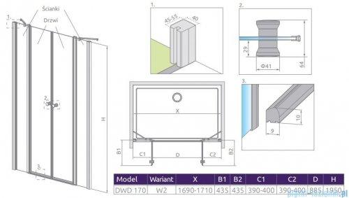 Radaway Eos II Dwd drzwi prysznicowe 170x195 W2 szkło przejrzyste 3799930-01-01/3799770-01-01