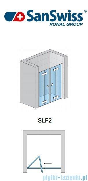 SanSwiss Swing Line F SLF2 Wejście narożne z drzwiami 75cm profil biały Lewe SLF2G07500407