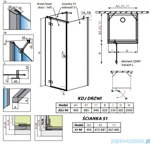 Radaway Essenza New Kdj+S kabina 90x90x90cm lewa szkło przejrzyste + brodzik Doros C + syfon