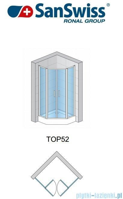 SanSwiss Top-Line Pięciokątna kabina prysznicowa TOP52 z drzwiami otwieranymi 90x90cm krople/srebrny mat TOP5260900144