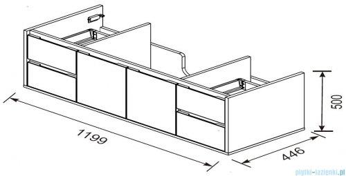 rysunek techniczny Oristo Opera szafka z blatem 120x50x45cm biały połysk OR35-SD5S-120-1/OR33-B-120-1
