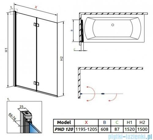 Radaway Essenza New Pnd parawan nawannowy 120cm lewy szkło przejrzyste 207212-01L