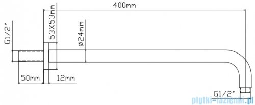 Omnires ramię ścienne do deszczownicy L=400mm chrom RA01K/XCR