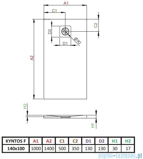 Radaway Kyntos F brodzik 140x100cm biały HKF140100-04