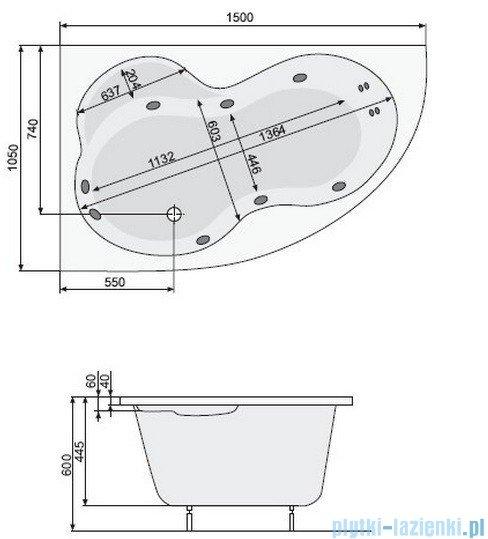 Poolspa Wanna asymetryczna MISTRAL 150x105 prawa + hydromasaż Smart 2 PHA6C10ST2C0000