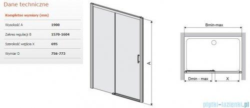 Sanplast Free Zone drzwi przesuwne D2L/FREEZONE 160x190 cm lewe przejrzyste 600-271-3230-38-401
