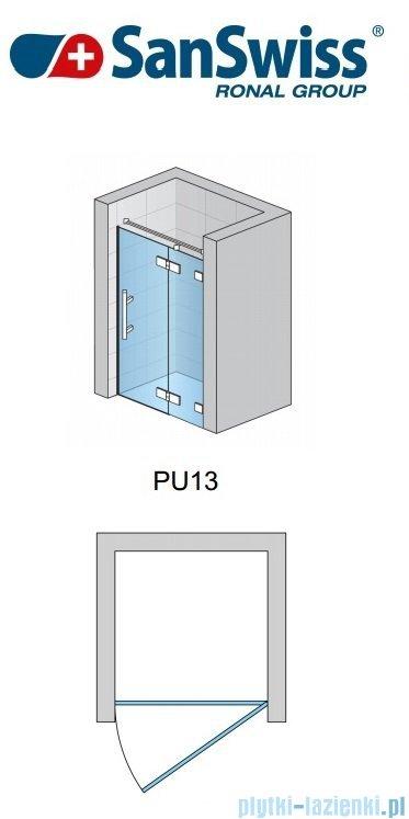 SanSwiss Pur PU13 Drzwi 1-częściowe wymiar specjalny profil chrom szkło Pas satynowy Prawe PU13DSM21051