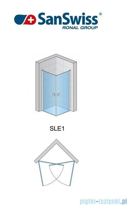 SanSwiss Swing-Line Sle1 Wejście narożne jednoczęściowe 70cm profil połysk szkło przejrzyste Prawe SLE1D07005007