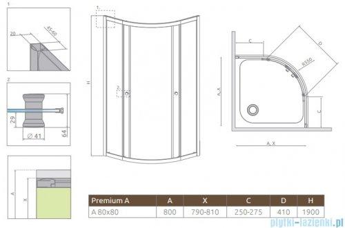 Radaway Premium A Kabina półokrągła 80x80x190 szkło fabric 30413-01-06