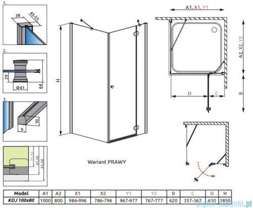 Radaway Torrenta Kdj kabina 100x80 prawa szkło carre 32242-01-10NR