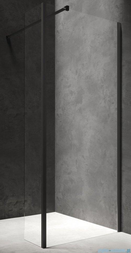 Omnires Marina Kabina prysznicowa typu walk-in ze ścianką boczną 110x200 cm przejrzyste profil czarny MA1130BLTR