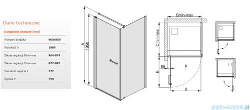 Sanplast kabina narożna kwadratowa KNDJ/PRIII-90 90x90 przejrzyste 600-073-0040-01-401