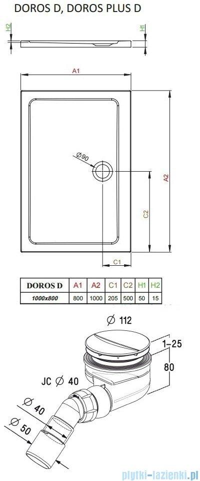 Radaway Torrenta Kdj Kabina prysznicowa 80x100 prawa szkło grafitowe + brodzik Doros D + syfon 32250-01-05NR