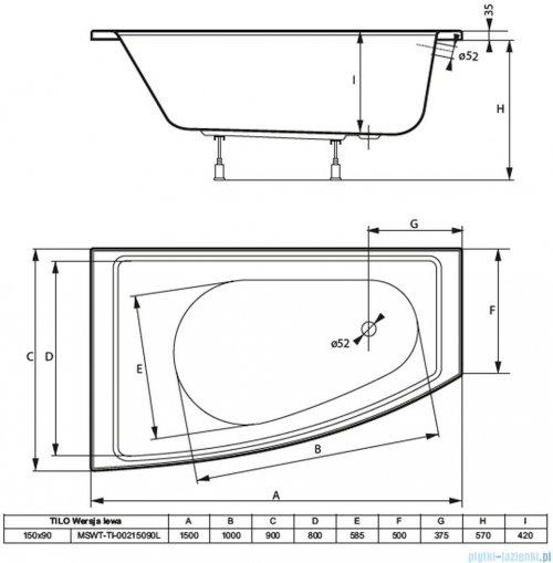 Massi Tilo wanna asymetryczna 150x90 cm lewa MSWT-TI-00215090L