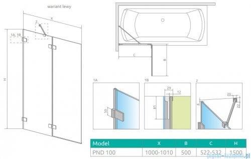 Radaway Euphoria Pnd II parawan nawannowy 100cm lewy szkło przejrzyste 10008100-01-01L